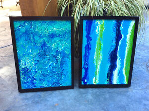 Two framed original abstract art paintings