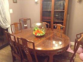 Beautiful Japanese style mahogany dining set with large bookcase