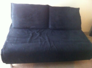 Queen Size Black Futon / Two Seat Couch / Turns Into Queen Size