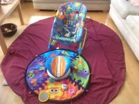 Fisher Price Vibrating bouncer & spin & explore tummy time play acitivity