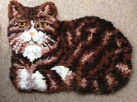Latchhook Knotted Pile CAT Rug Carpet