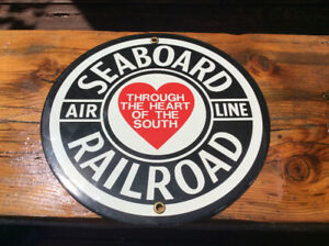 Porcelain SEABOARD AIR LINE RAILROAD advertising sign !