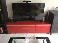 Ikea besta burs high gloss red tv unit and wall mount cd cabinet both in excellent condition