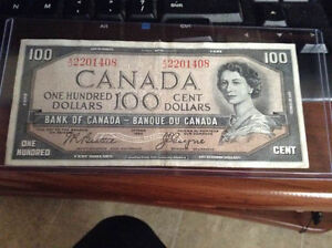 1954 Bank Of Canada $100 bill devils head rare