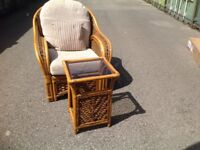 Wicker chair and glass top table