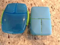 Sistema Blue Lunch Boxes x 2 (slim quad & the big one with the yogurt pot and can fit an apple)