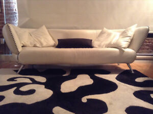 White Italian Pebble Leather Designer Couch