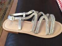 Silver Evans sandles size 8
