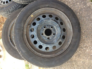 """Motomaster 16"""" tires and rims, like new!"""
