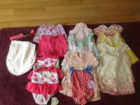 BRAND NEW! Gorgeous baby girl clothes; summer dresses, shorts, swimwear, hand knitted booties etc.