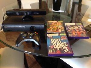 XBox 360 with Kinect and three games