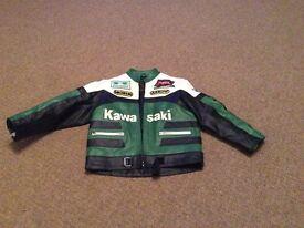 Kawasaki boys bike , real leather jacket size 9/10 years