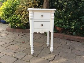 Shabby chique bedside painted white
