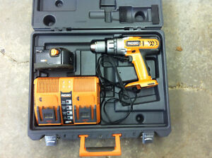 Ridgid drill and double charger including battery