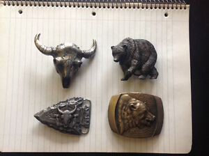 Collectable Grizzley Bear and Longhorn Skull Beltbuckles