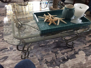 Rod iron glass top coffee table