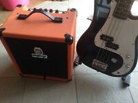 Fender squier bass and Orange crush 20b bass amp with books