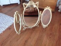 Shabby Chic Vintage Louis Style Triple Dressing Table Mirror