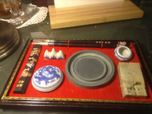 VINTAGE Chinese Calligraphy Set Brush Pen Ink Stone Writing Art