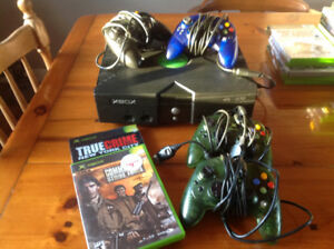 Xbox with 4 controllers and 32 games