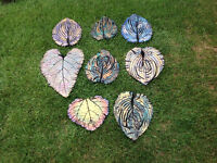 Painted cement leaf stepping stones