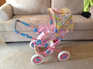 Kids toy stroller and car