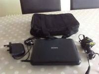 Sony personal portable DVD player, mains & car charger and carry bag