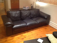 Black Leather Couch - Great Condition - Negotiable Price