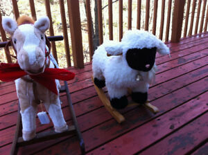 rocking horse and sheep