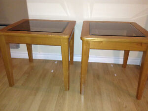 Set of 2 Solid Wood Glass Top Tables