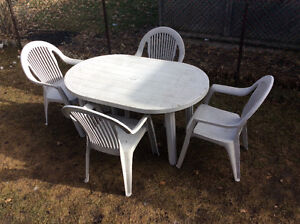 Grey Resin Patio Set, Oval Table 4.5ft. L, 3ft.W, with 4 chairs
