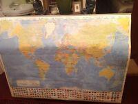 Wall hanging world map