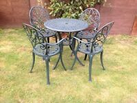 Cast aluminium garden table and 4 chairs set 3