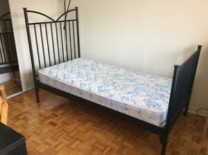 2 Ikea single beds, 1 mattress, 1 foam mattress