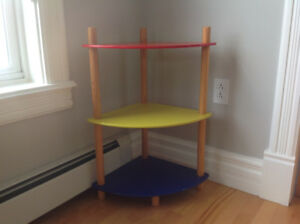 Three tier corner kids shelf