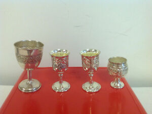 silver plated and white metal liquor glasses, ash tray $20 each
