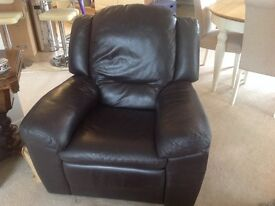 Chocolate Brown Leather Recliner Chair Excellent condition