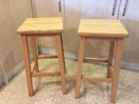 Two solid wood beech bar stools