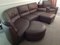 Large leather corner sofa and armchair.