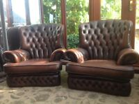 TWO CHESTERFIELD ARMCHAIRS