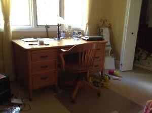 Solid oak double pedestal desk with solid oak chair