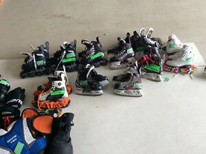 Hockey skates, roller blades and figure skates