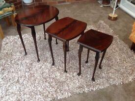 MAHOGANY FINISH NEST OF TABLES