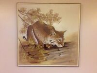 Edward(Rusty) Walker signed oil painting.Bobcat