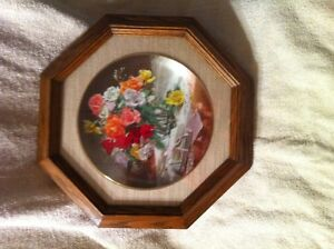 Roses Collector Plate in Frame.