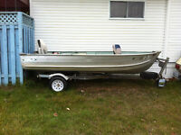 14 foot boat with trailer with 20 mercury  trade for sled
