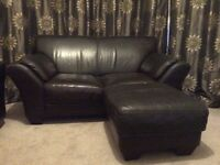 Modern real leather 3 seater sofa, 2 seater sofa and footstool.