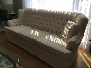White Couche, love seat and chair