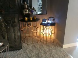 Beautiful Gold And Black Side Tables. Brand New.