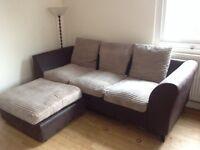 Faux leather and Cream sofa (£35 ONO)